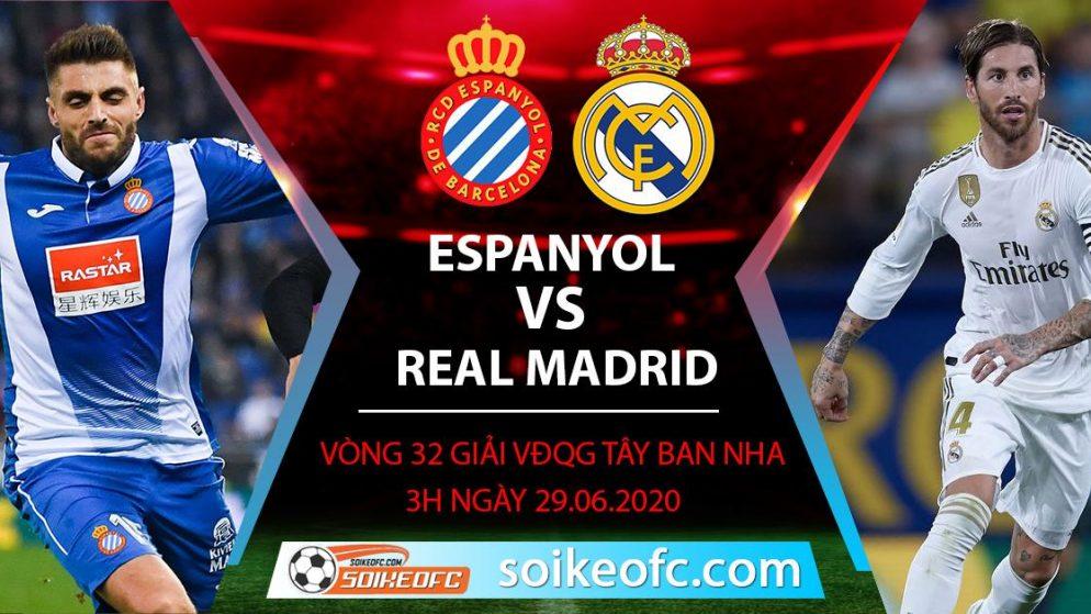 Soi kèo Espanyol vs Real Madrid, 3h ngày 29/6/2020 – VĐQG Tây Ban Nha
