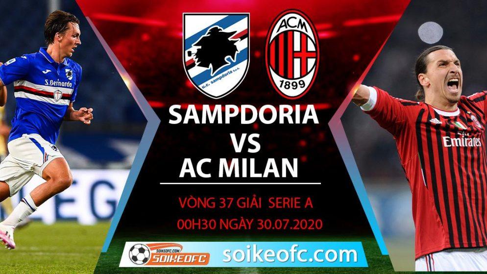 Soi kèo Sampdoria vs AC Milan, 0h30 ngày 30/7/2020 – VĐQG Italia