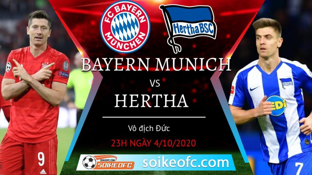 Soi kèo Bayern Munich vs Hertha Berlin, 23h00 ngày 4/10/2020 – Giải VĐQG Đức