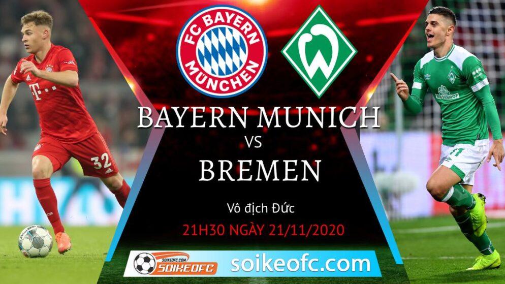 Soi kèo Bayern Munich vs Werder Bremen, 21h30 ngày 21/11/2020 – VĐQG Đức