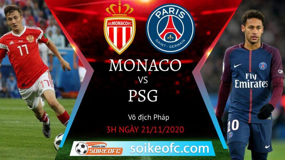 Soi kèo AS Monaco vs PSG, 03h00 ngày 21/11/2020 – VĐQG Pháp