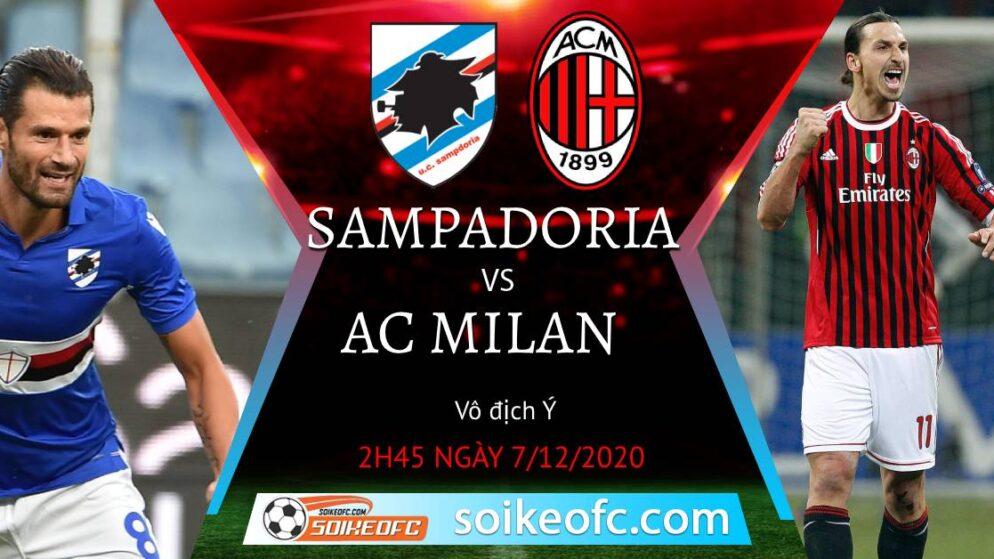 Soi kèo Sampdoria vs AC Milan, 02h45 ngày 07/12/2020 – VĐQG Italia