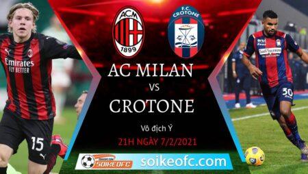 Soi kèo AC Milan vs Crotone, 21h00 ngày 07/02/2021 – VĐQG Italia