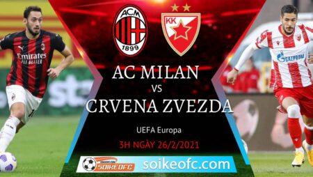 Soi kèo AC Milan vs Crvena Zvezda, 3h00 ngày 26/02/2021 – Europa League